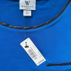 Worthington Tops - NWT! Worthington Sleeveless Top Tank, Blue, L